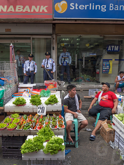 Armed Guards at banks in China Town, Street Photography in Manila, Devisoria and China Town, Philippines
