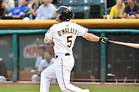 Shawn O'Malley (5) of the Salt Lake Bees at bat against the Albuquerque Isotopes at Smith's Ballpark on April 21, 2014 in Salt Lake City, Utah.  (Stephen Smith/Four Seam Images)