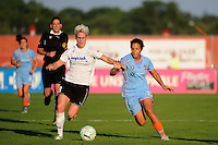 Sophie Schmidt (8) of magicJack SC and Casey Nogueira (27) of Sky Blue FC go for the ball. Sky Blue FC and magicJack SC played to a 2-2 tie during a Women's Professional Soccer (WPS) match at Yurcak Field in Piscataway, NJ, on July 09, 2011.
