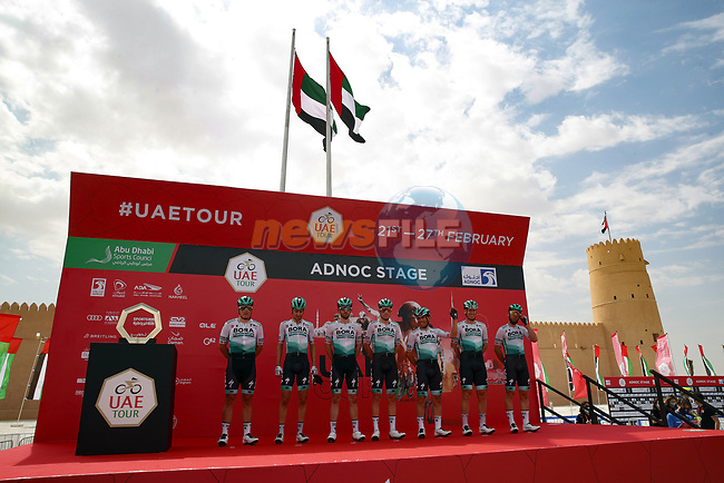 Bora-Hansgrohe at sign on before the start of Stage 1 of the 2021 UAE Tour the ADNOC Stage running 176km from Al Dhafra Castle to Al Mirfa, Abu Dhabi, UAE. 21st February 2021.  <br /> Picture: Luca Bettini/BettiniPhoto | Cyclefile<br /> <br /> All photos usage must carry mandatory copyright credit (© Cyclefile | Luca Bettini/BettiniPhoto)