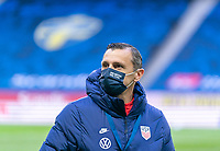 SOLNA, SWEDEN - APRIL 10: Vlatko Andonovski of the USWNT arrives at the stadium before a game between Sweden and USWNT at Friends Arena on April 10, 2021 in Solna, Sweden.