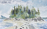 Great Bear Rainforest, tombolo, July 19th 2005, ink on paper, Journal Art 2005,