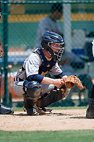GCL Tigers West catcher Jon Rosoff (8) awaits the pitch during a game against the GCL Pirates on August 13, 2018 at Pirate City Complex in Bradenton, Florida.  GCL Tigers West defeated GCL Pirates 5-1.  (Mike Janes/Four Seam Images)