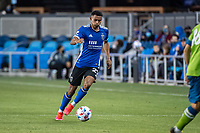 SAN JOSE, CA - MAY 12: Marcos Lopez #27 of the San Jose Earthquakes dribbles the ball during a game between San Jose Earthquakes and Seattle Sounders FC at PayPal Park on May 12, 2021 in San Jose, California.