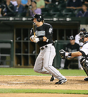 Brett Carroll of the Florida Marlins gets his first major league hit vs. the Chicago White Sox: June 19th, 2007 at U.S. Cellular Field in Chicago, IL.  Photo by Mike Janes/Four Seam Images