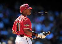 Apr. 27, 2011; Phoenix, AZ, USA; Arizona Diamondbacks outfielder Justin Upton spits out chewing tobacco against the Philadelphia Phillies at Chase Field. Mandatory Credit: Mark J. Rebilas-