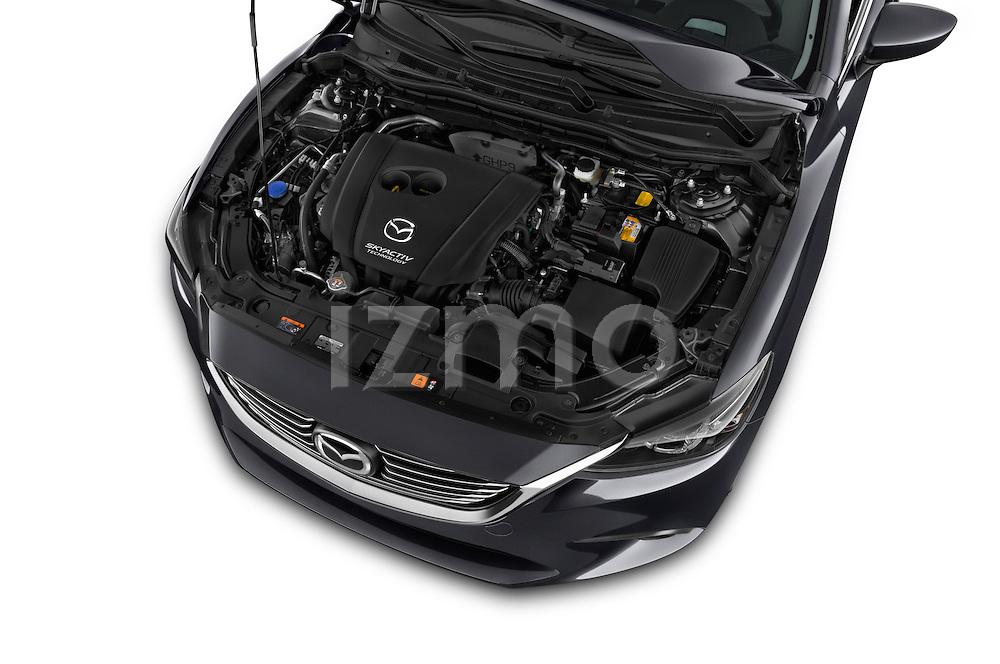 Car stock 2016 Mazda 6 i Grand Touring Auto 4 Door Sedan engine high angle detail view