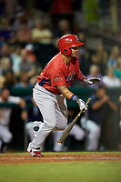 Peoria Chiefs left fielder Yariel Gonzalez (33) follows through on a swing during a game against the Bowling Green Hot Rods on September 15, 2018 at Bowling Green Ballpark in Bowling Green, Kentucky.  Bowling Green defeated Peoria 6-1.  (Mike Janes/Four Seam Images)