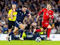 4th September 2021; Hampden Park, Glasgow, Scotland: FIFA World Cup 2022 qualification football, Scotland versus Moldova: John McGinn of Scotland takes on Cristian Dros of Moldova