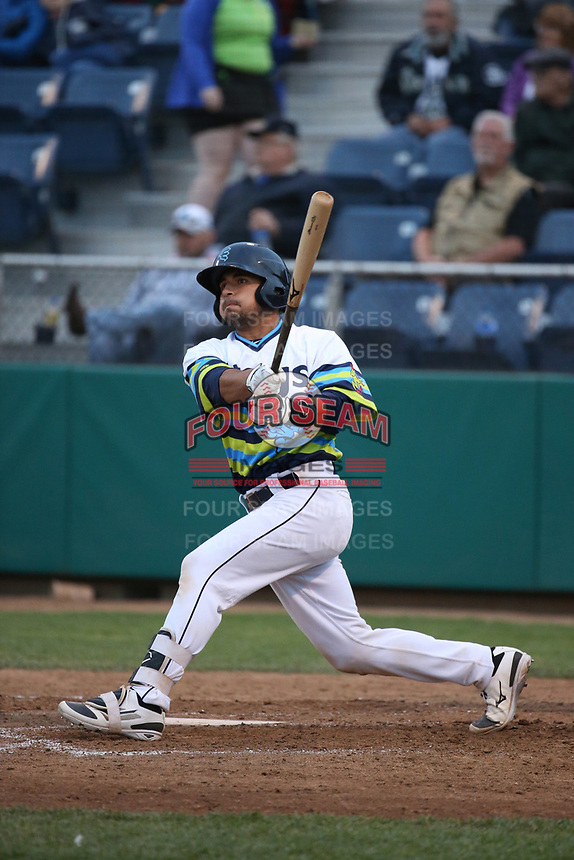 David Banuelos (48) of the Everett AquaSox bats against the Boise Hawks at Everett Memorial Stadium on July 21, 2017 in Everett, Washington. Everett defeated Boise, 10-4. (Larry Goren/Four Seam Images)