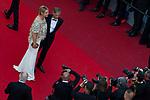 70eme Festival International du Film de Cannes. Montee de la ceremonie de cloture, vues du toit du Palais . 70th International Cannes Film Festival. Vew from rof top of closing red carpet<br /> <br /> <br /> <br /> <br />  Belmondo, Paul; Belmondo, Luana