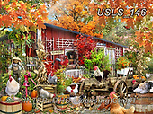 Lori, LANDSCAPES, LANDSCHAFTEN, PAISAJES, paintings+++++Chickens In Fall_2014_small_72,USLS146,#l#, EVERYDAY ,puzzle,puzzles