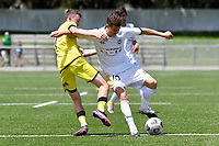 Reid Drake of Eastern Suburbs competes for the ball with Luis Toomey of the Wellington Phoenix during the ISPS Handa Men's Premiership - Wellington Phoenix v Eastern Suburbs at Fraser Park, Wellington on Saturday 28 November 2020.<br /> Copyright photo: Masanori Udagawa /  www.photosport.nz