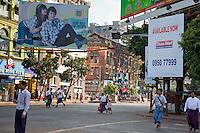 Myanmar, Burma, Yangon.  Street Scene.