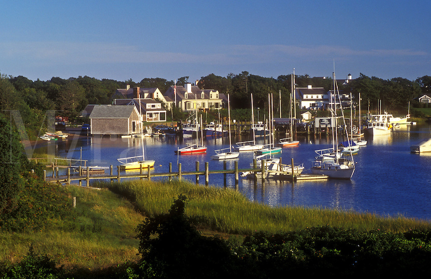 AJ1512, Cape Cod, Massachusetts, Scenic view of boats at Harwich Port marina in Harwich, Massachusetts.