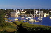 AJ1512, Cape Cod, Massachusetts, Scenic view of boats at Harwich Port marina in Harwich, Massachusetts.