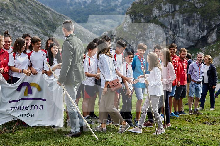 Queen Letizia of Spain, King Felipe VI of Spain, Princess Sofia of Spain and Princess Leonor of Spain visit the Enol lake in Asturias, Spain. September 08, 2018. (ALTERPHOTOS/A. Perez Meca)
