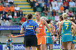The Hague, Netherlands, June 14: Maartje Paumen #17 of The Netherlands argues with the umpire during the field hockey gold medal match (Women) between Australia and The Netherlands on June 14, 2014 during the World Cup 2014 at Kyocera Stadium in The Hague, Netherlands. Final score 2-0 (2-0)  (Photo by Dirk Markgraf / www.265-images.com) *** Local caption ***