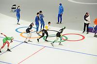 OLYMPIC GAMES: PYEONGCHANG: 09-02-2018, Gangneung Oval, Training session, Vanessa Herzog (AUT), Mathias Vosté (BEL), ©photo Martin de Jong