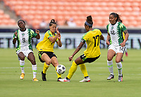 HOUSTON, TX - JUNE 10: Chinyelu Asher #7 reacts to a ball coming toward her from Allyson Swaby #17 of Jamaica during a game between Nigeria and Jamaica at BBVA Stadium on June 10, 2021 in Houston, Texas.