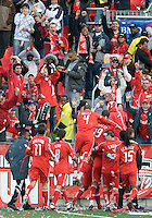 26 April 2009:  Toronto FC players celebrate the goal by Toronto FC forward Danny Dichio #9 during an MLS game at BMO Field between Kansas City Wizards and Toronto FC.Toronto FC won 1-0. .