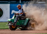 29 May 2021: Vermont Lake Monsters Grounds Crew prepare the infield prior to a game against the Norwich Sea Unicorns at Centennial Field in Burlington, Vermont. The Lake Monsters defeated the Sea Unicorns 6-3 in their FCBL Home Opener, the first home game played at Centennial Field post-Covid-19 pandemic. Mandatory Credit: Ed Wolfstein Photo *** RAW (NEF) Image File Available ***