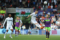 Bersant Celina of Swansea City vies for possession with Adam Webster of Bristol City during the Sky Bet Championship match between Swansea City and Bristol City at the Liberty Stadium, Swansea, Wales, UK. Saturday 25 August 2018