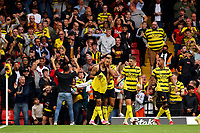 25th September 2021; Vicarge Road, Watford, Herts,  England;  Premier League football, Watford versus Newcastle; Joshua King of Watford celebrates his goal but it is disallowed by VAR