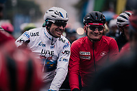 Alexander Kristoff (NOR/UAE) André Greipel (DEU/Lotto-Soudal) relaxed at the start<br /> <br /> 76th Paris-Nice 2018<br /> Stage 7: Nice > Valdeblore La Colmiane (175km)