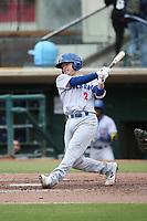 Nick Allen (2) of the Stockton Ports bats against the Inland Empire 66ers at San Manuel Stadium on May 26, 2019 in San Bernardino, California. (Larry Goren/Four Seam Images)