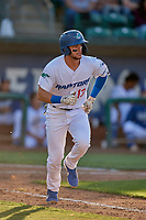 Marco Hernandez (13) of the Ogden Raptors hustles to first base against the Orem Owlz at Lindquist Field on June 22, 2019 in Ogden, Utah. The Owlz defeated the Raptors 7-4. (Stephen Smith/Four Seam Images)