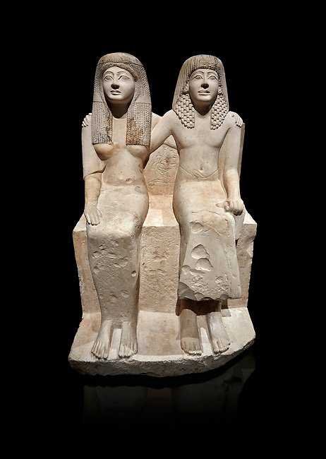 Ancient Roman statue of Pendua and his wife Nefertari, limestone, New Kingdom, 19th Dynasty, (1292-1186 BC),  Deir-el-Medina, Thebes. Egyptian Museum, Turin. black background.<br /> <br />  Carved in Thebian white limestone the statue of Pendua and his wife Nefertari shows the skill and attention to details of the sculptors of Deir-el-Medina, the worker's village of those who built the Royal Tombs at Thebes. The theme of the family is echoed by a carving of a daughter between the two figures.