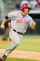 Tony Renda (7) of the Hagerstown Suns hustles down the first base line against the Kannapolis Intimidators at CMC-Northeast Stadium on May 17, 2013 in Kannapolis, North Carolina.  The Suns defeated the Intimidators 9-7.   (Brian Westerholt/Four Seam Images)