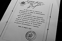 """Pope's present to the camp.<br /> <br /> Ferramonti di Tarsia (Cosenza, Calabria – Italy), 25/04/2019. Today, to mark the 74th Anniversary of the Italian Liberation from nazi-fascism ('Liberazione'), a memorial was held at the Concentration Camp of Ferramonti di Tarsia (aka Internierungslager Ferramonti di Tarsia). At the end of a series of events a public meeting took place attended by members of the public, experts, and politicians – including the Mayor of Tarsia and the President of Calabria's Region.<br /> The [often forgotten*] Calabrian """"internment"""" camp was the largest of the fifteen camps built in Italy by the fascist regime of Benito Mussolini between June and September 1940. Their purpose was to confine Jewish, Roma and Sinti, homosexual and disable people, political dissidents and other ethnic minorities. <br /> The Ferramonti's camp was located in a malaria-plagued piece of land. It had 92 barracks where families were kept together and children attended school. The camp was operational from June 1940 and September 1943 and """"there were 3,823 Jewish internees at Ferramonti, of which only 141 were Italian. The majority, 3,682 people, were foreign-born"""" (1.). The Ministry of the Interior appointed the police officer Paolo Salvatore (1899-1980) as camp director. The camp was freed by the British Army in September 1943, but many of the former prisoners stayed in it for the next two years, until the camp was officially closed on the 11th December 1945.   <br /> ...<br /> ** For the full caption please read the Article at the beginning of this story<br /> <br /> Footnotes and Links <br /> 1. http://bit.do/eQZz3 (ENG - Wikipedia.org)<br /> 2. http://bit.do/eQZNd (Article by Primo Levi Center New York)<br /> http://www.museoferramonti.org/<br /> https://www.campodiferramonti.it<br /> http://bit.do/eQZmw (HBW - Wikipedia Israel)<br /> http://bit.do/eQZbp (ITA - Wikipedia Italy)<br /> http://bit.do/eQZVk (ENG - Examinerlive.co.uk) - """"Daughter's emotional visit to Fe"""