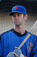 Shawn Green of the New York Mets during batting practice before a game from the 2007 season at Dodger Stadium in Los Angeles, California. (Larry Goren/Four Seam Images)