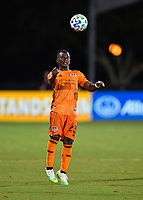 LAKE BUENA VISTA, FL - JULY 18: Darwin Quintero #23 of the Houston Dynamo heads the ball during a game between Houston Dynamo and Portland Timbers at ESPN Wide World of Sports on July 18, 2020 in Lake Buena Vista, Florida.