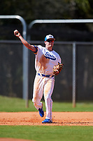 South Dakota State Jackrabbits third baseman Matthew Krambeck (23) throws to first base during a game against the FIU Panthers on February 23, 2019 at North Charlotte Regional Park in Port Charlotte, Florida.  South Dakota State defeated FIU 4-3.  (Mike Janes/Four Seam Images)