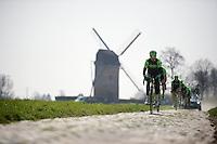 Team Cannondale-Garmin at the Templeuve (Moulin-de-Vertain) sector<br /> <br /> 2015 Paris-Roubaix recon