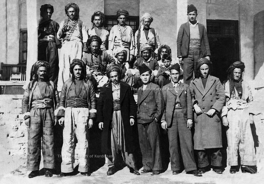 Iraq 1940.In Mira Khor, near Drash, the Herki tribe with in friont, 3rd from left, Fatah Agha, next, Assad Fatah Agha  .Irak 1940 .A Mira Khor, a cote de Drash, devant 3 eme a gauche, Fatah Agha et a cote de lui, Assad Fatah Agha