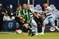 KANSAS CITY, KS - MAY 9: Luis Martins#14 Austin FC with the ball during a game between Austin FC and Sporting Kansas City at Children's Mercy Park on May 9, 2021 in Kansas City, Kansas.