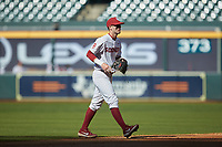 Oklahoma Sooners shortstop Brandon Zaragoza (4) on defense against the Arkansas Razorbacks in game two of the 2020 Shriners Hospitals for Children College Classic at Minute Maid Park on February 28, 2020 in Houston, Texas. The Sooners defeated the Razorbacks 6-3. (Brian Westerholt/Four Seam Images)