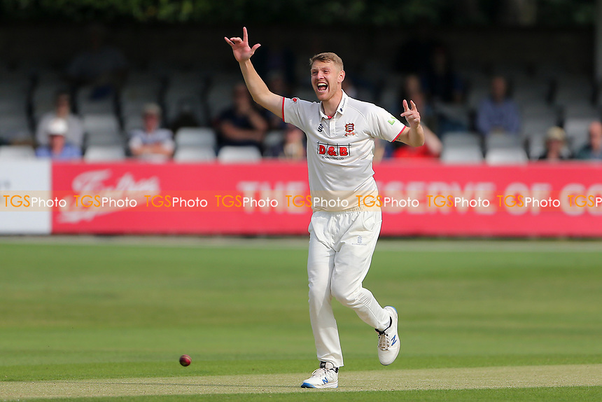 Jamie Porter of Essex claims the wicket of Miles Hammond during Essex CCC vs Gloucestershire CCC, LV Insurance County Championship Division 2 Cricket at The Cloudfm County Ground on 5th September 2021