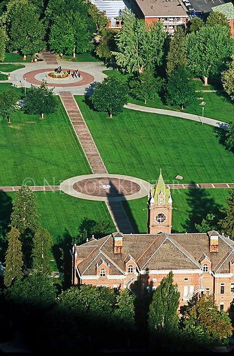 Main Hall and the Oval on the University of Montana campus in Missoula, Montana