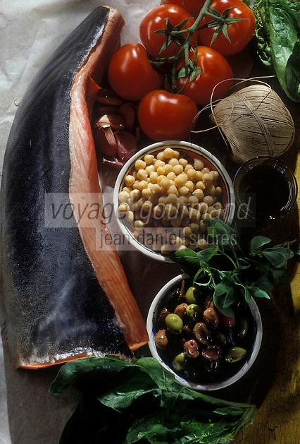 Cuisine/Gastronomie Generale:  Filet de Thon Rouge rôti aux épinards, tomates confites à l' hoummos- Ingrédients