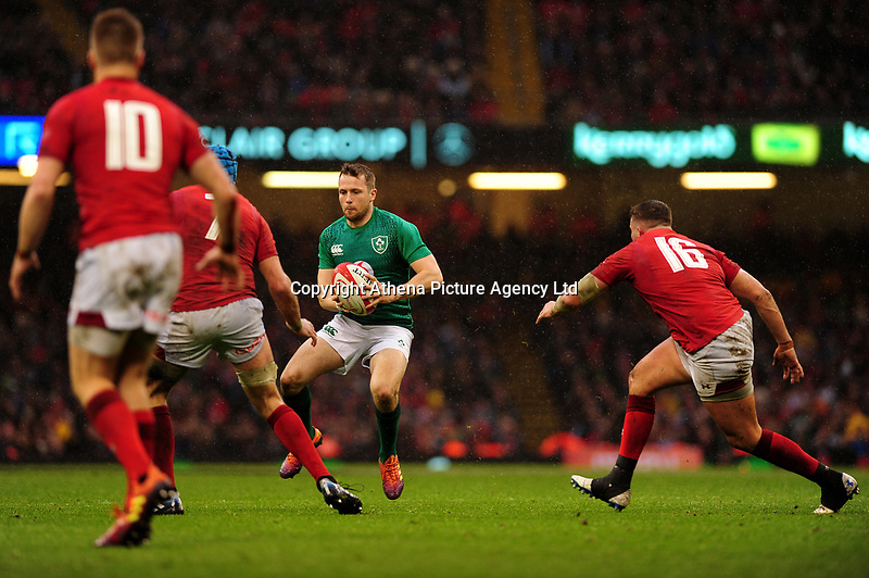 Pictured: Jack Carty of Ireland during the Guinness six nations match between Wales and Ireland at the Principality Stadium, Cardiff, Wales, UK.<br /> Saturday 16 March 2019