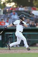 Jared Walsh (21) of the Inland Empire 66ers bats against the Rancho Cucamonga Quakes at San Manuel Stadium on July 29, 2017 in San Bernardino, California. Inland Empire defeated Rancho Cucamonga, 6-4. (Larry Goren/Four Seam Images)