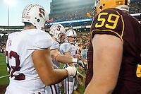 TEMPE, AZ - November 13, 2010: Sione Fua, Ryan Whalen and Owen Marecic during a football game at Arizona State University in Tempe, Arizona. Stanford won 17-13.