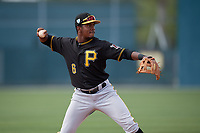Pittsburgh Pirates Tilsaimy Melfor (6) during a minor league Spring Training game against the Philadelphia Phillies on March 13, 2019 at Pirate City in Bradenton, Florida.  (Mike Janes/Four Seam Images)