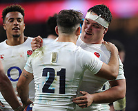 Jamie George of England congratulates Danny Care of England on his try during the RBS 6 Nations match between England and Scotland at Twickenham Stadium on Saturday 11th March 2017 (Photo by Rob Munro/Stewart Communications)