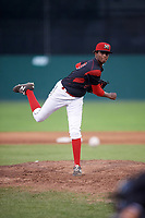Batavia Muckdogs relief pitcher Edward Cabrera (30) delivers a pitch during a game against the Mahoning Valley Scrappers on August 18, 2017 at Dwyer Stadium in Batavia, New York.  Mahoning Valley defeated Batavia 8-2.  (Mike Janes/Four Seam Images)